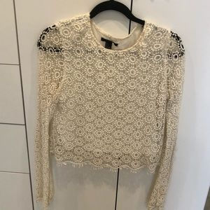 Cream lace patterned long sleeve top